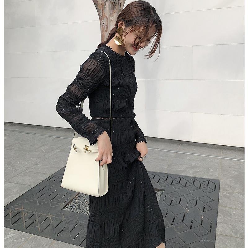 黑色 连衣裙 新款 秋装 重工 褶皱 长袖 蕾丝 拼接 裙子