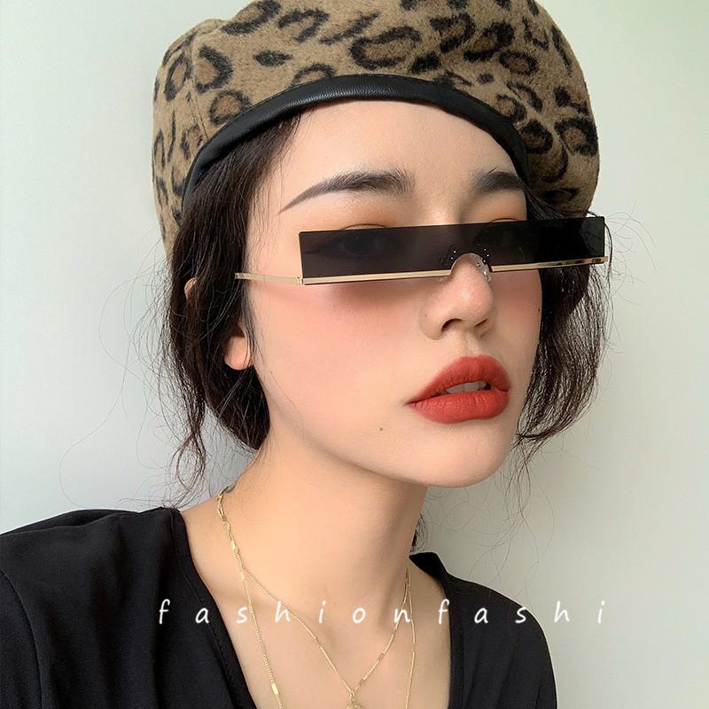 ins嘻哈女潮街拍超酷小镜片太阳眼镜无框墨镜朋克欧美复古凹造型