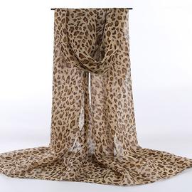 ins时尚欧美豹纹围巾女秋冬季纱巾百搭雪纺长丝巾百变宽披肩两用