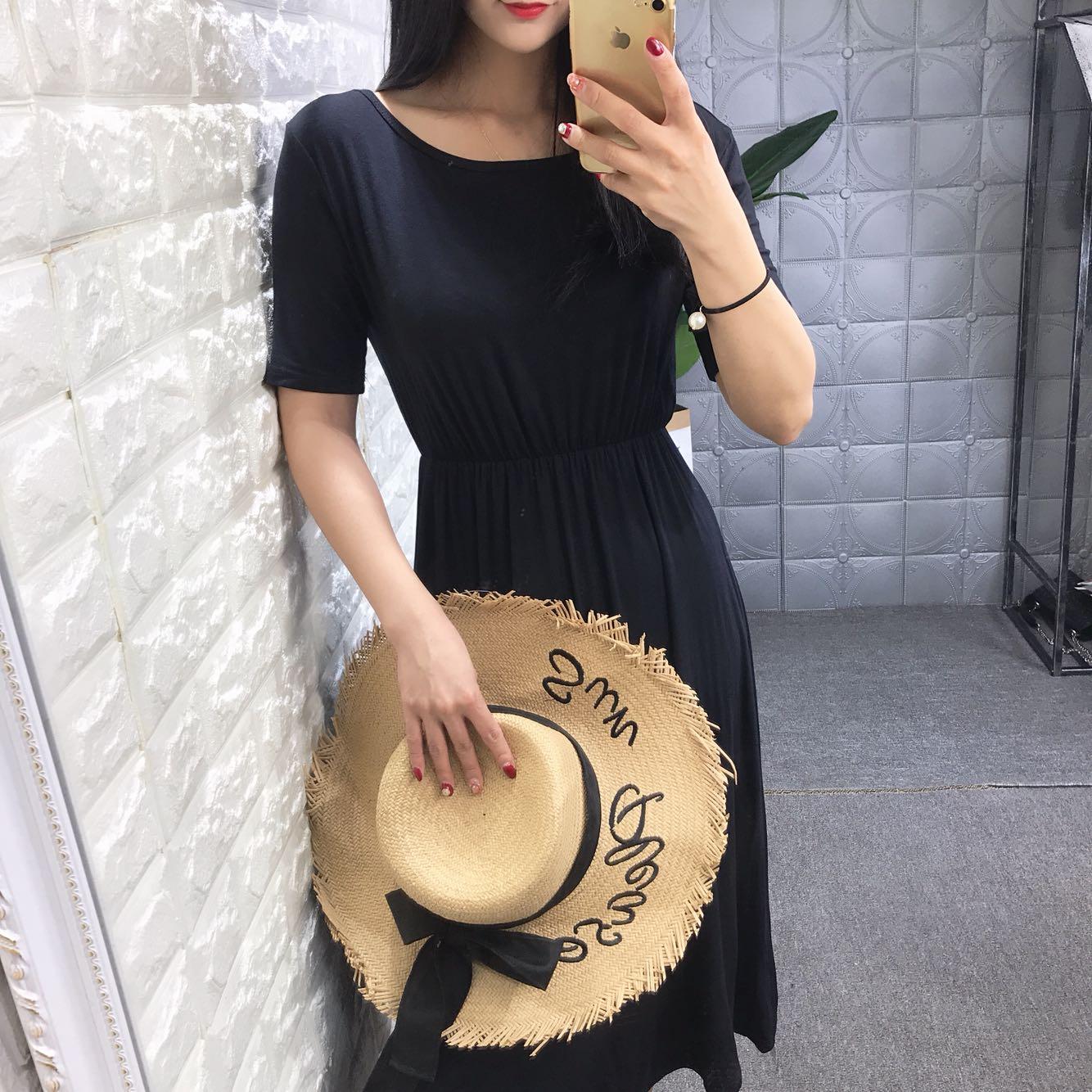 韩国ulzzang18夏季新品圆领短袖纯色时尚气质交叉收腰显瘦连衣裙