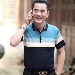 父亲爸爸短袖t恤男夏装40-50岁中老年人男装爷爷装中年男士polo衫