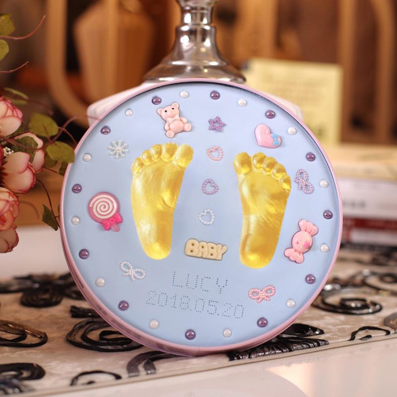 宝宝手足印泥手脚印手印新生的婴儿童胎毛纪念品永久满月百天礼物