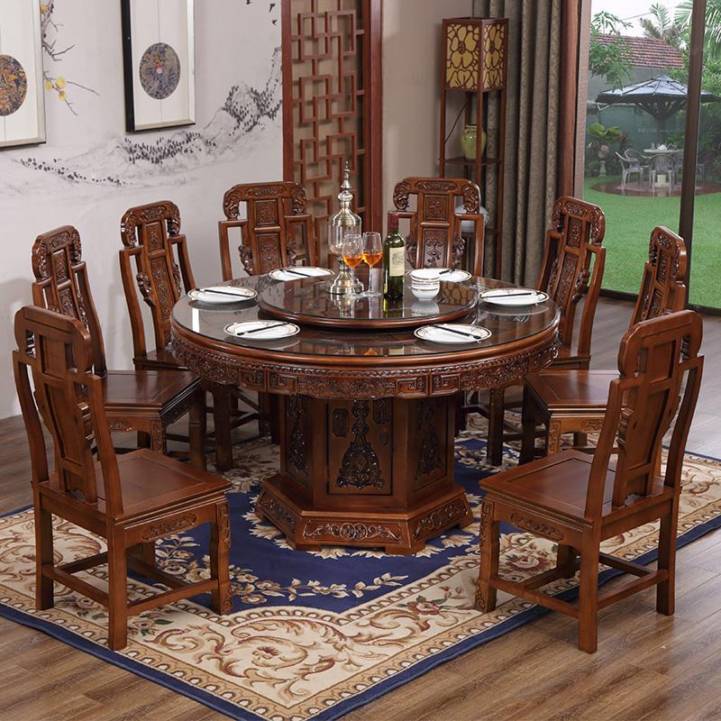 全实木餐桌椅组合10人带钢化玻璃中式仿古雕花圆形饭桌家用大圆桌