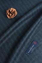 意大利产杰尼亚蓝灰条纹羊毛毛料西装套装马甲裙子服装衣裤布料