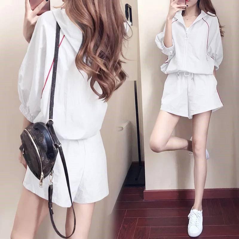 潮牌韩版女装2019夏季短裤休闲女运动套装薄款长袖防晒透气两件套