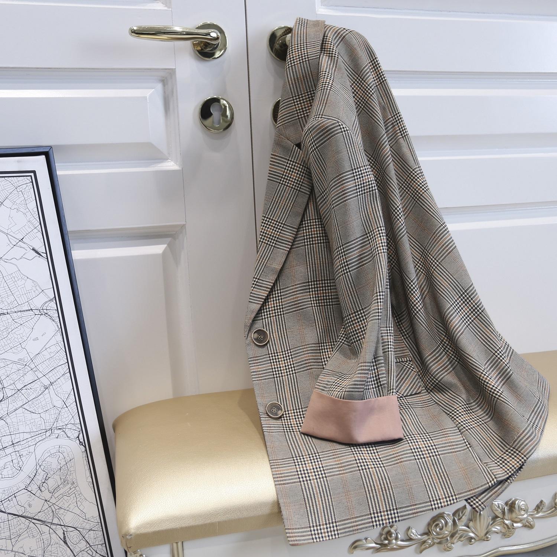 格子西装外套女2019春夏装新品韩版休闲七分袖网红百搭小西服chic
