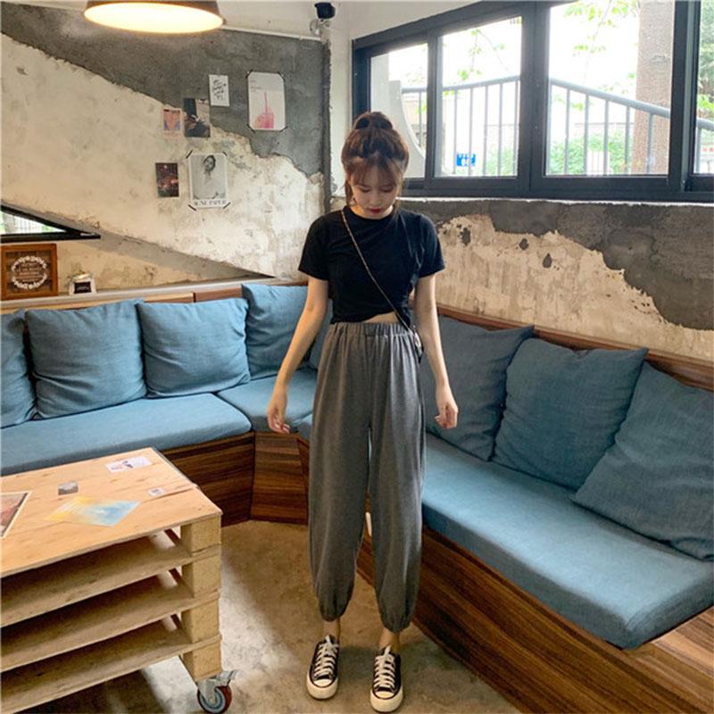 法国小众夏季女装两件套2019新款韩版短袖T恤+运动休闲裤网红套装