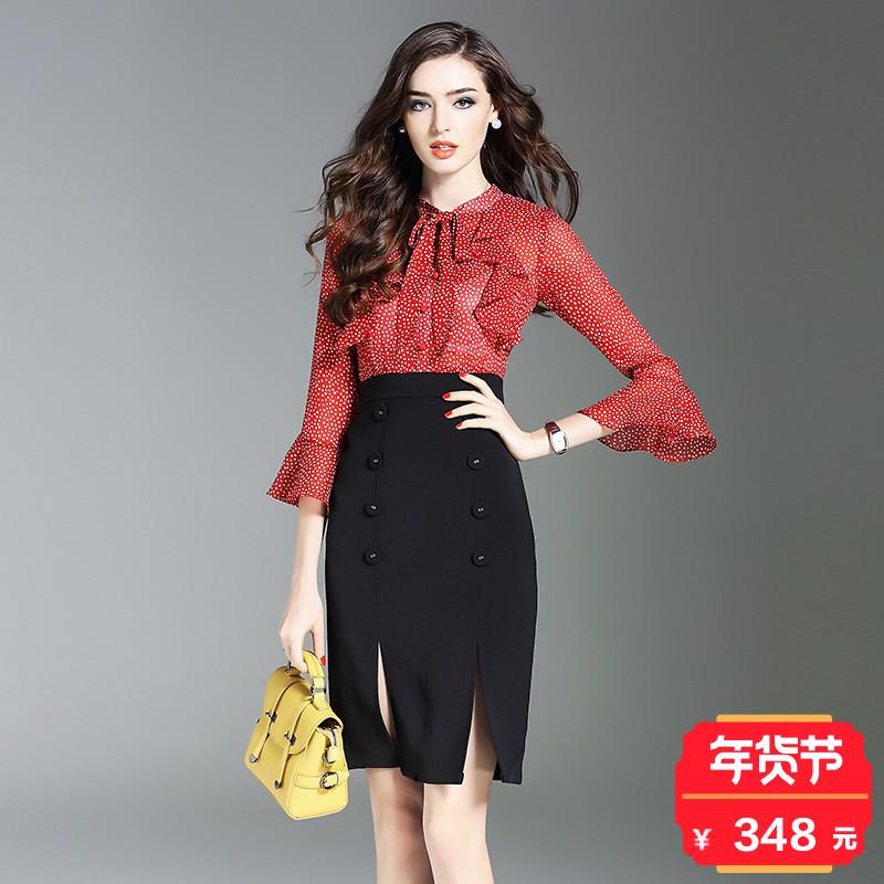 2018春季新款荷叶边拼接波点喇叭袖连衣裙女修身显瘦气质包臀裙子