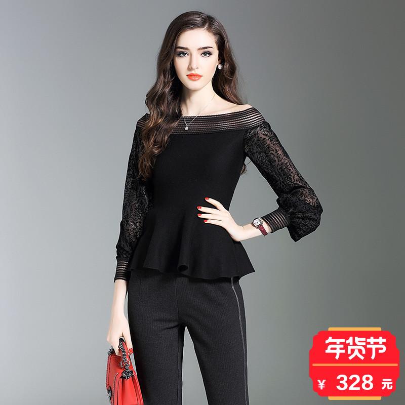 伊莲娜2018春季新款时尚修身显瘦黑色一字肩灯笼袖针织衫女百搭潮