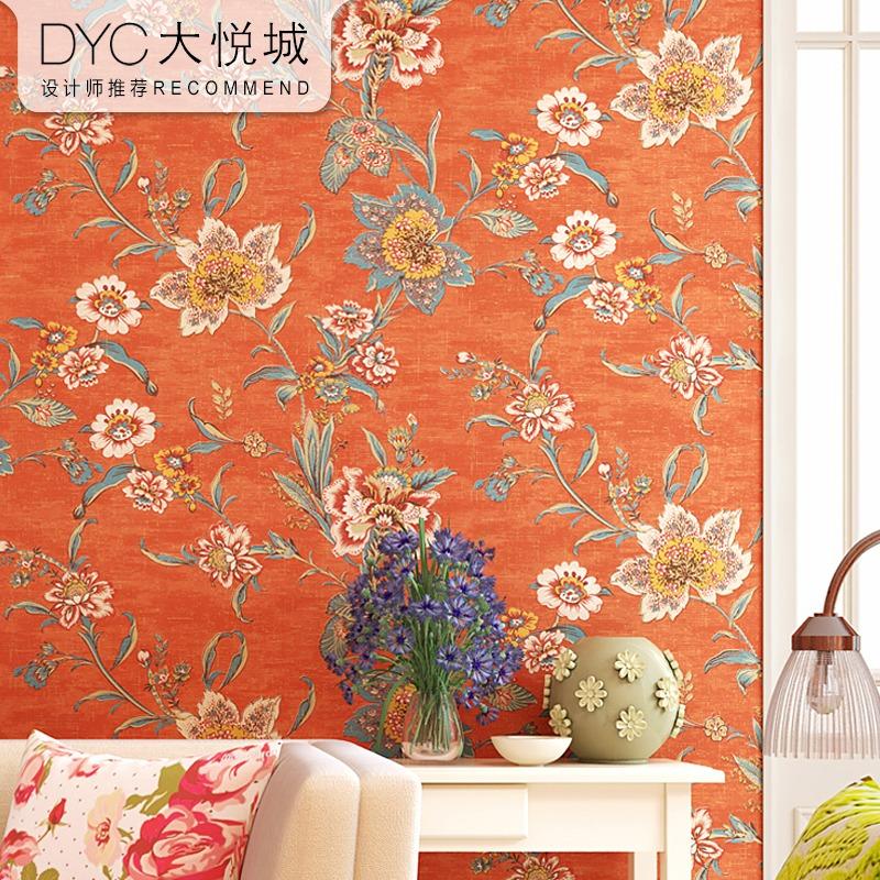 美式乡村复古纯纸壁纸橙色田园大花卧室客厅床头轻奢风格背景墙纸
