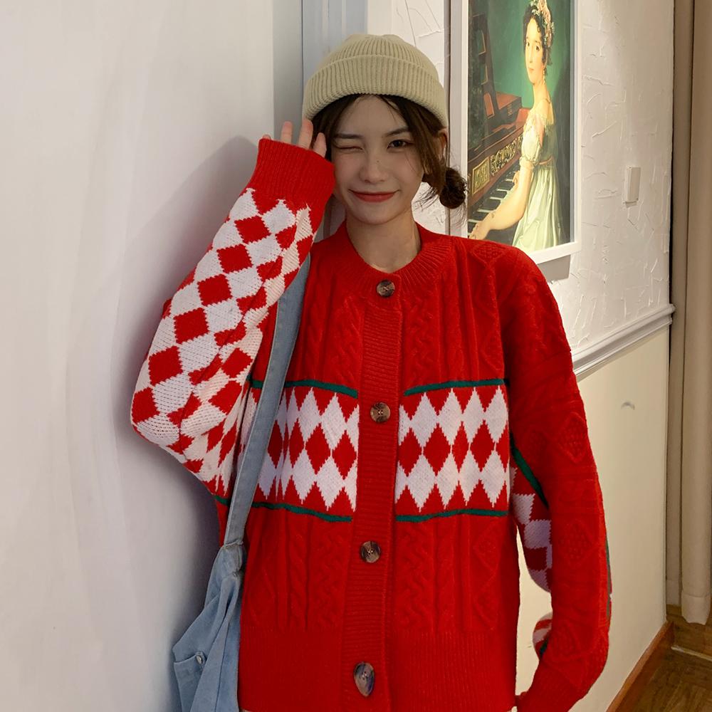 质检实拍实价~10312#chic韩风复古几何麻花针织衫开衫毛衣女 -