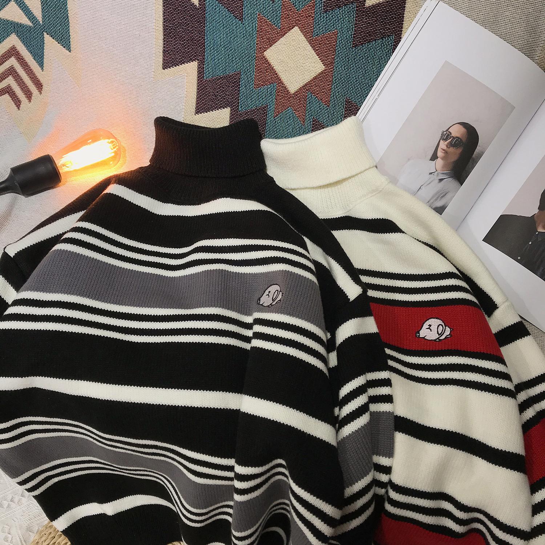 2020秋冬加厚高领撞色条纹刺绣毛衣 M900-P75(限88)-四季星座111-