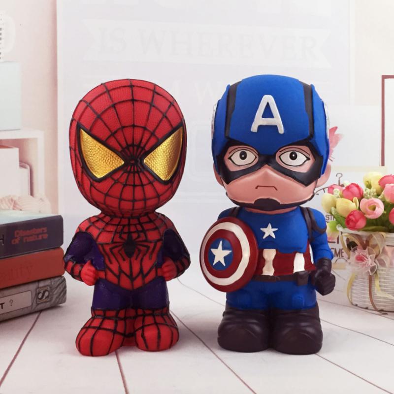 创意礼物美国队长储蓄罐大号蜘蛛侠防摔存钱罐复仇者联盟儿童礼品