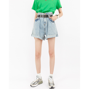 2019 autumn new high-waist loose wide-leg pleated frayed jeans children were thin wild boots pants shorts hot