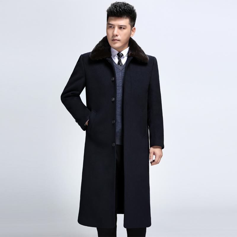 水貂毛领冬季爸爸男装中老年羊毛呢子大衣过膝超长款外套妮子风衣