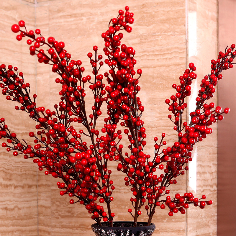 发财 仿真花 落地 欧式 装饰 干花 浆果 相思 红豆