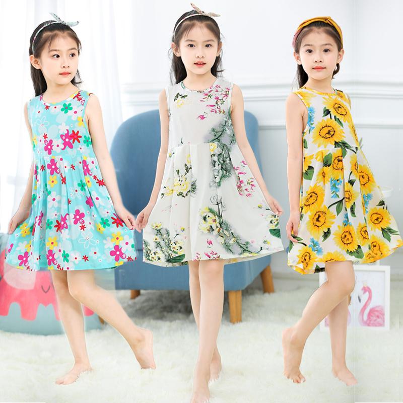 夏女童吊带背心裙小女孩可爱公主薄款儿童睡裙纯棉绸中大童连衣裙