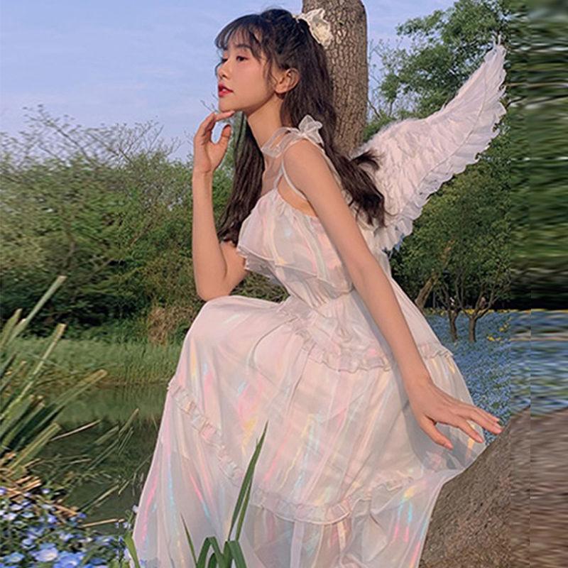 梅子熟了 法式复古鎏金仙女裙高腰吊带闪光连衣裙女夏 2020年新款