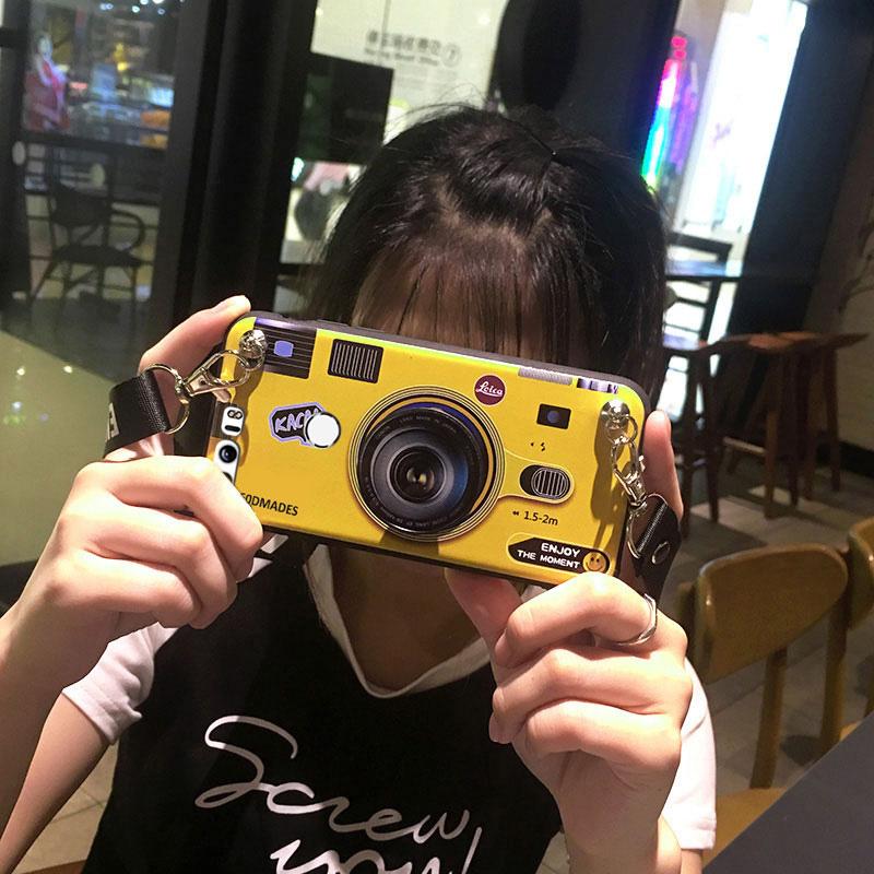 酷淘 华为荣耀8/荣耀9 手机壳 荣耀10 青春版 创意相机斜跨女款套