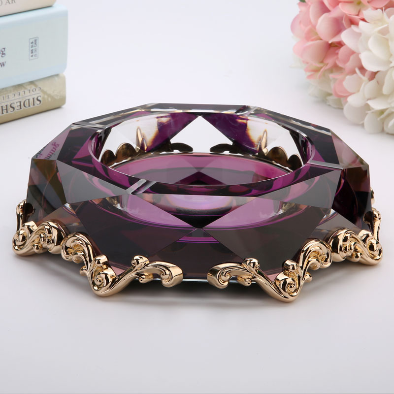 创意合金水晶玻璃烟灰缸时尚个性礼品大号定制烟灰缸客厅欧式烟缸
