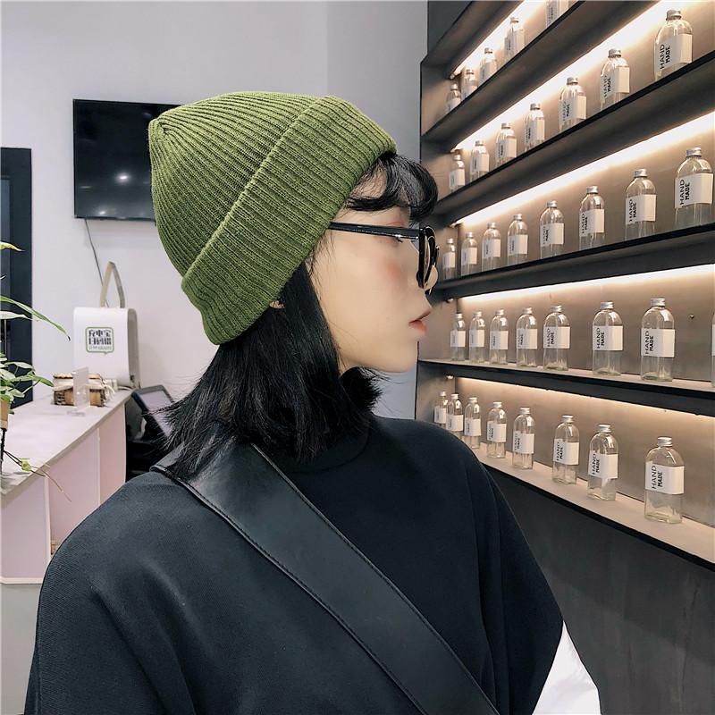 帽子女冬季韩版百搭纯色秋冬ins针织帽保暖加绒韩国潮可爱毛线帽