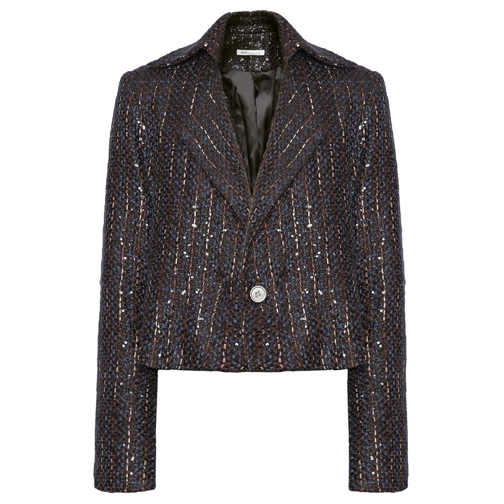 REEth鎏金三色线西服时髦个性黑色礼服外套短款…