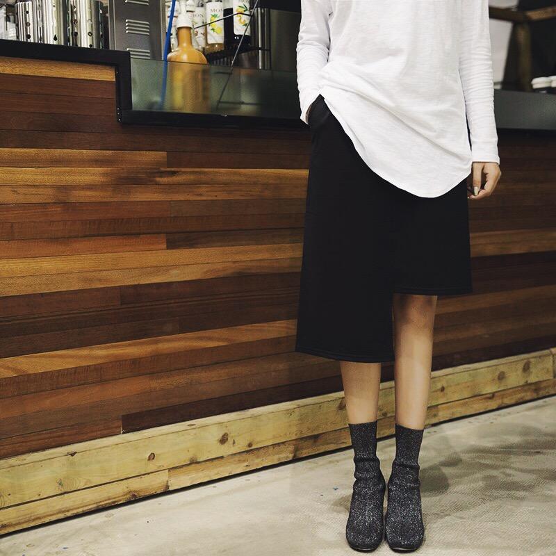 喵喵chan 2017秋冬新款罗马棉不规则半身裙女装加绒黑色中长裙子