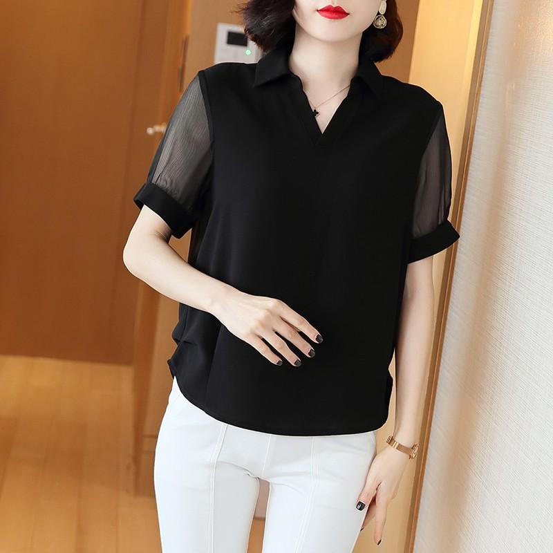 欧洲站短袖T恤女夏2020年欧货新款雪纺小衫时尚妈妈宽松上衣洋气