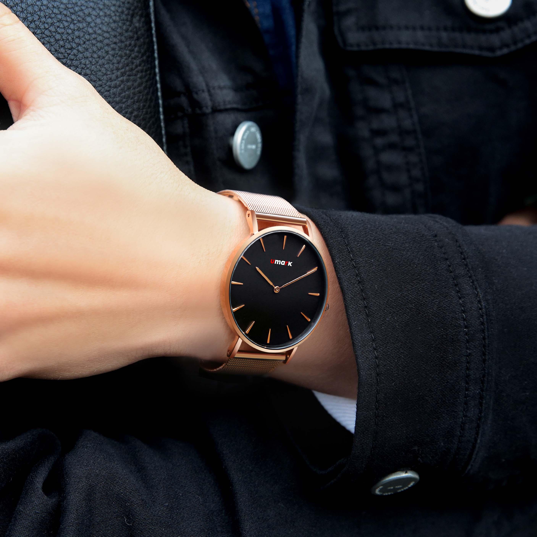 优唛(UMARK)时尚防水皮带手表男士商务休闲两针石英机芯腕表男