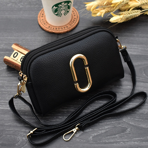 2018 new double zipper messenger handbags Japan and South Korea version of the fashion trend clutch bag simple dual-use small coin purse