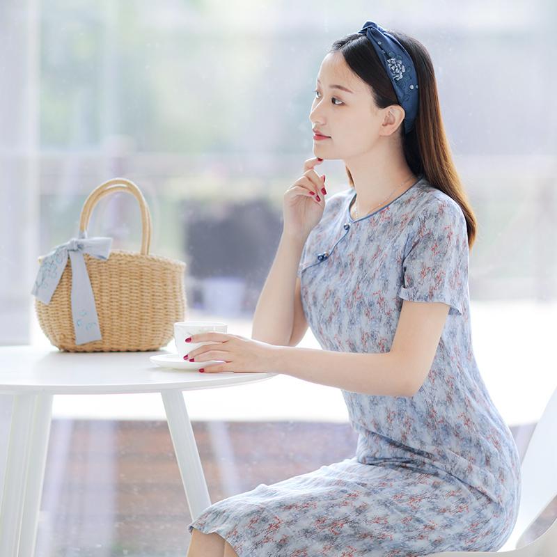 伶俐柠檬11513民国风女装斜襟立领改良文艺旗袍连衣裙现货