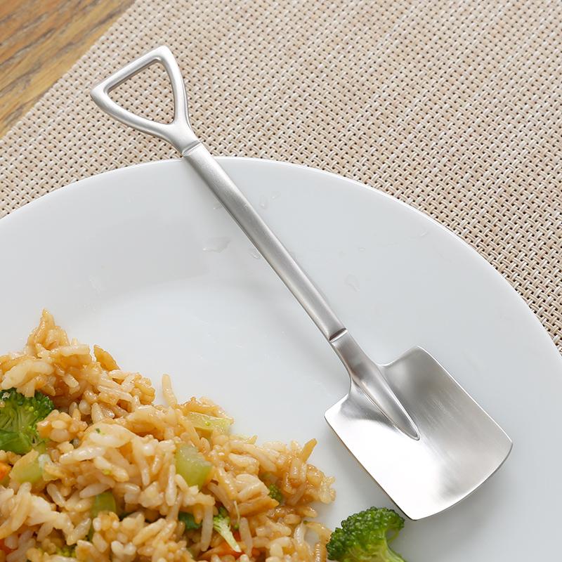 家用吃饭勺铁锹勺子304不锈钢创意吃西瓜神器工兵铲咖啡甜品雪糕
