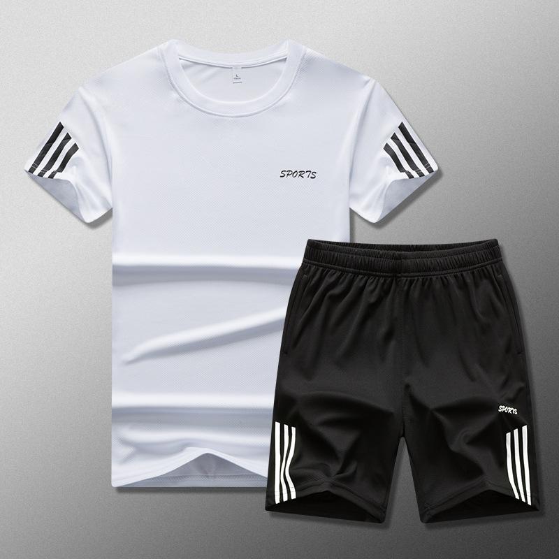 2020夏季新款男式休闲套装加肥加大码圆领半袖T恤运动套装