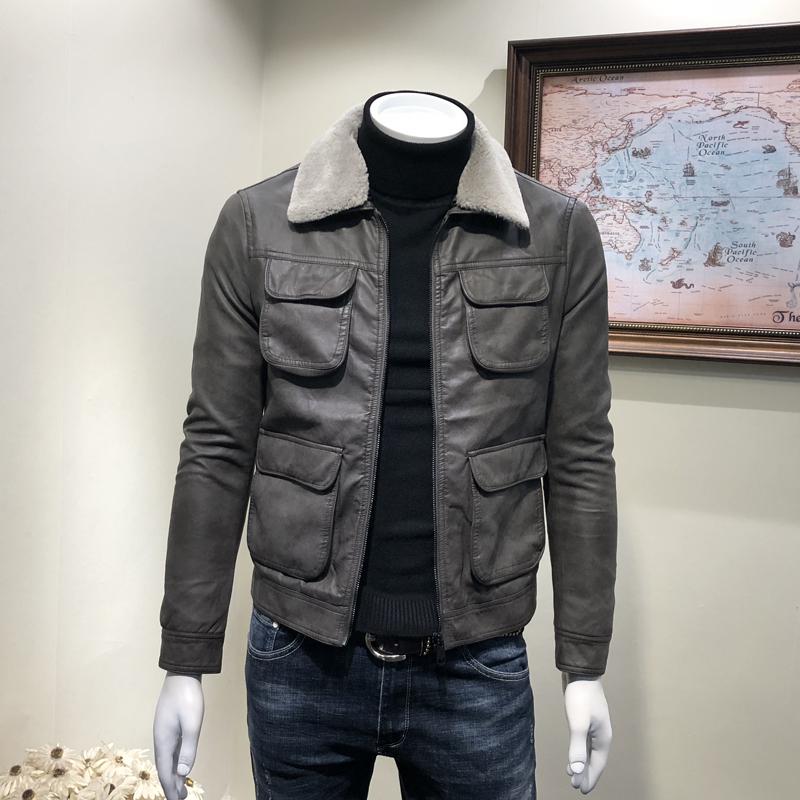 男士保暖皮衣 青年潮流翻毛领加绒PU皮外套男 冬季新款机车服夹克