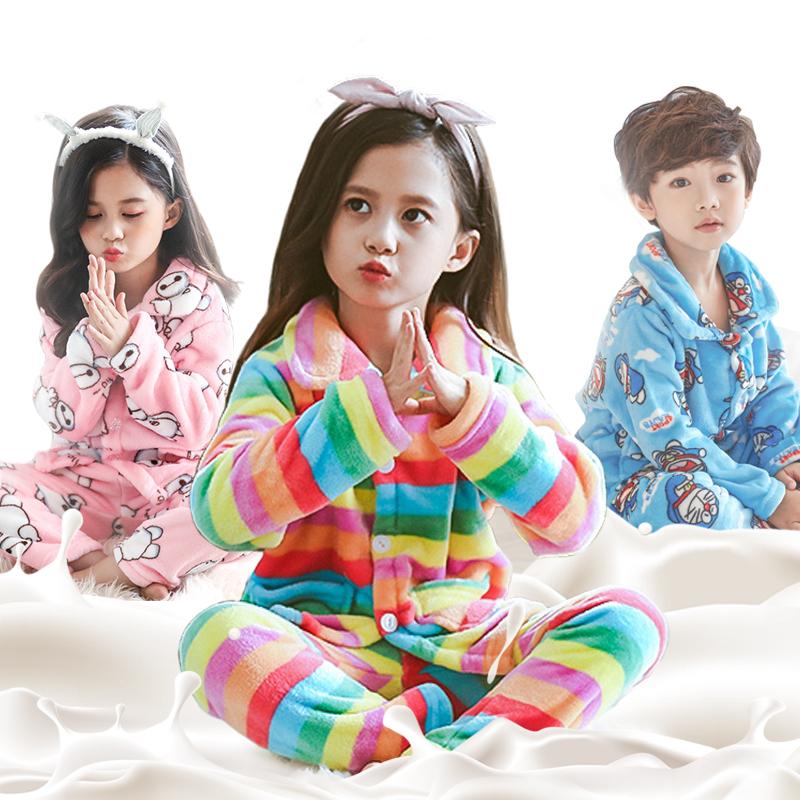 儿童法兰绒睡衣秋冬季女童小孩宝宝珊瑚绒套装男孩男童加厚家居服满29元减5元