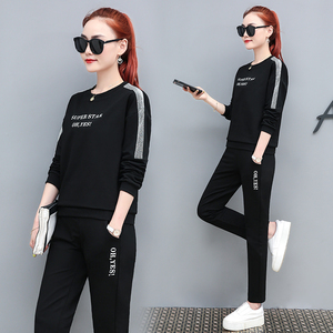 Cotton casual sports suit female spring and autumn models 2019 autumn new fashion two-piece women's sweater sweater trendy