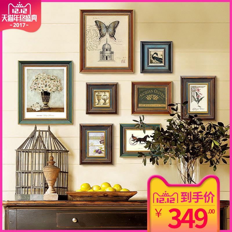 美式复古照片墙装饰画现代简约欧式餐厅玄关客厅实木组合壁画挂画