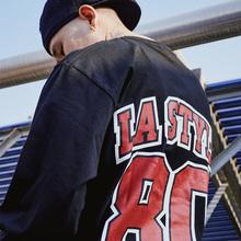 蜜丘琳80年代LA国lo7嘻哈街舞ty滑板潮的棒(小)领口长袖TEE恤