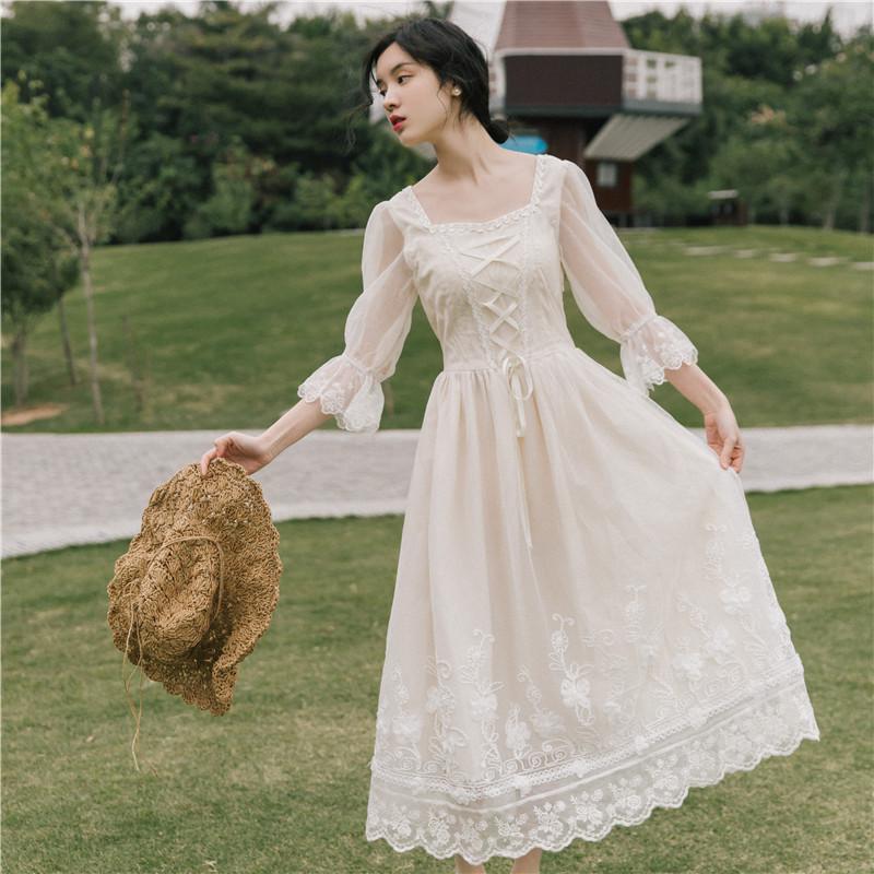 连衣裙子仙女超仙森系甜美长裙