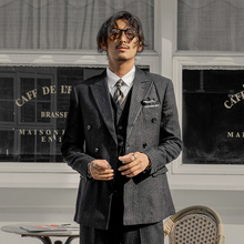 SOARIN英伦风复古双ww9扣西装男ou装黑色条纹职业装西服外套