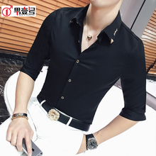 冰丝七分袖衬衫男he5修身潮流mu21新式夏季发型师潮牌短袖寸衫