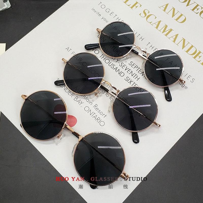黄晓明伴郎团圆形墨镜男复古太子镜 彩膜太阳镜女个性偏光驾驶镜