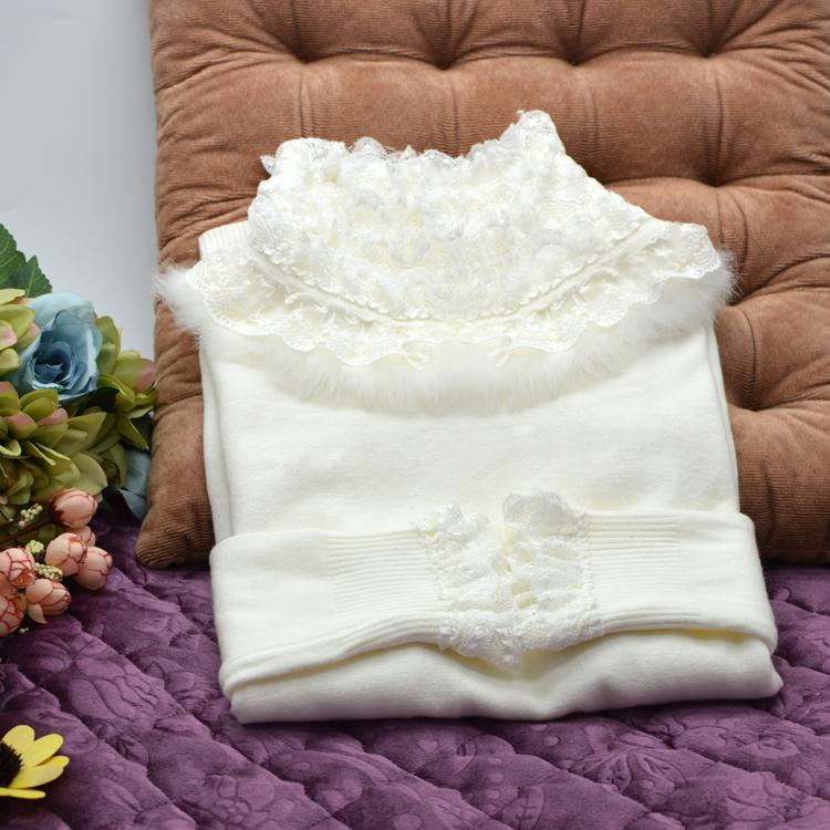 秋冬蕾丝花边修純色高领毛衣女短款冬季大码套头修身打底针织衫