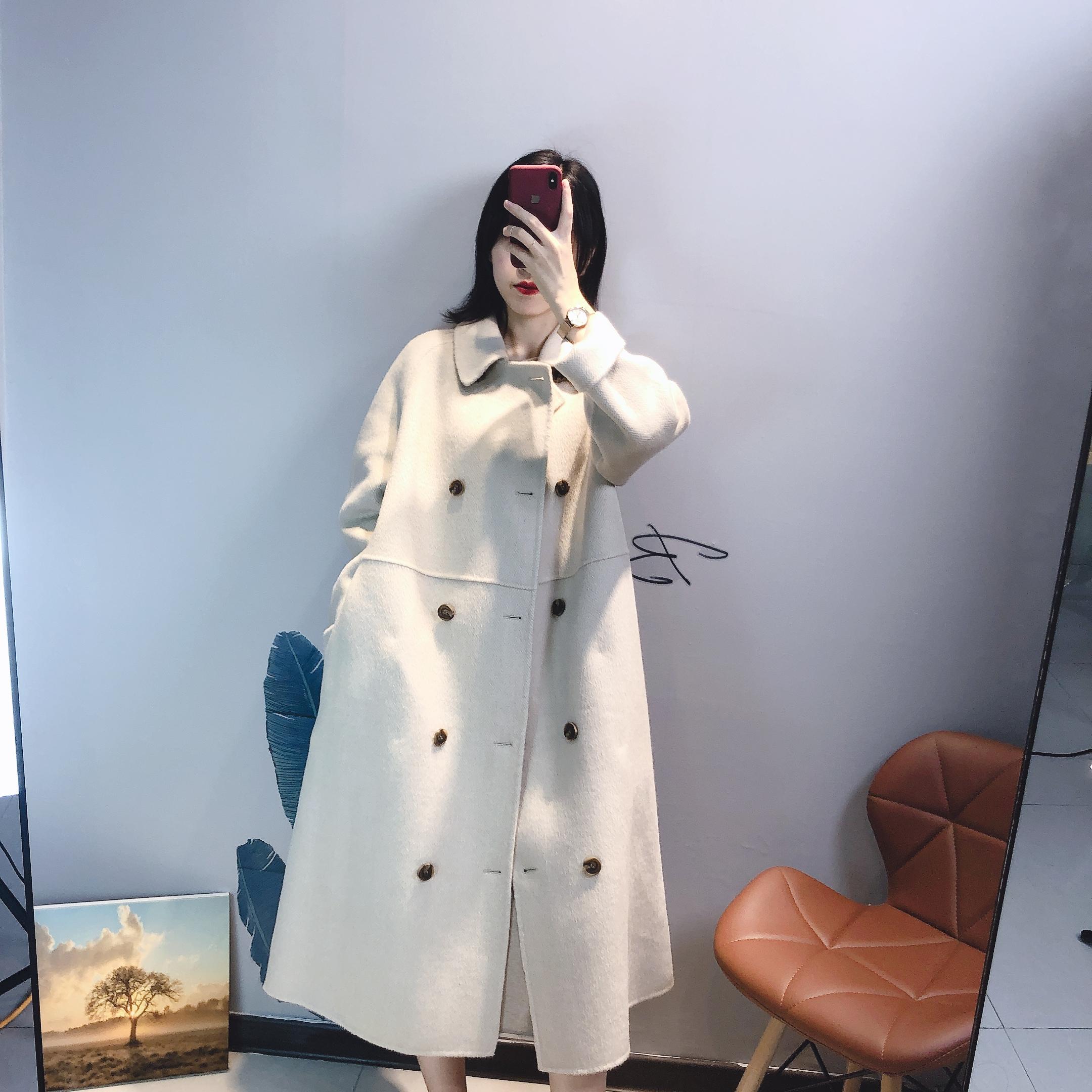 小个子也能驾驭 韩国东大门双面羊绒大衣女 双排扣中长款羊毛外套