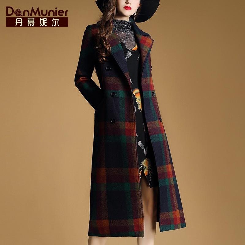 丹慕妮尔2017冬季新女装通勤西装领气质羊毛格子大衣中长外套8558