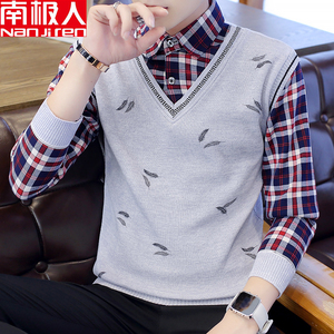 Antarctic people autumn and winter thick fake two-piece sweater men's plaid shirt jacket men's thin knitted sweater