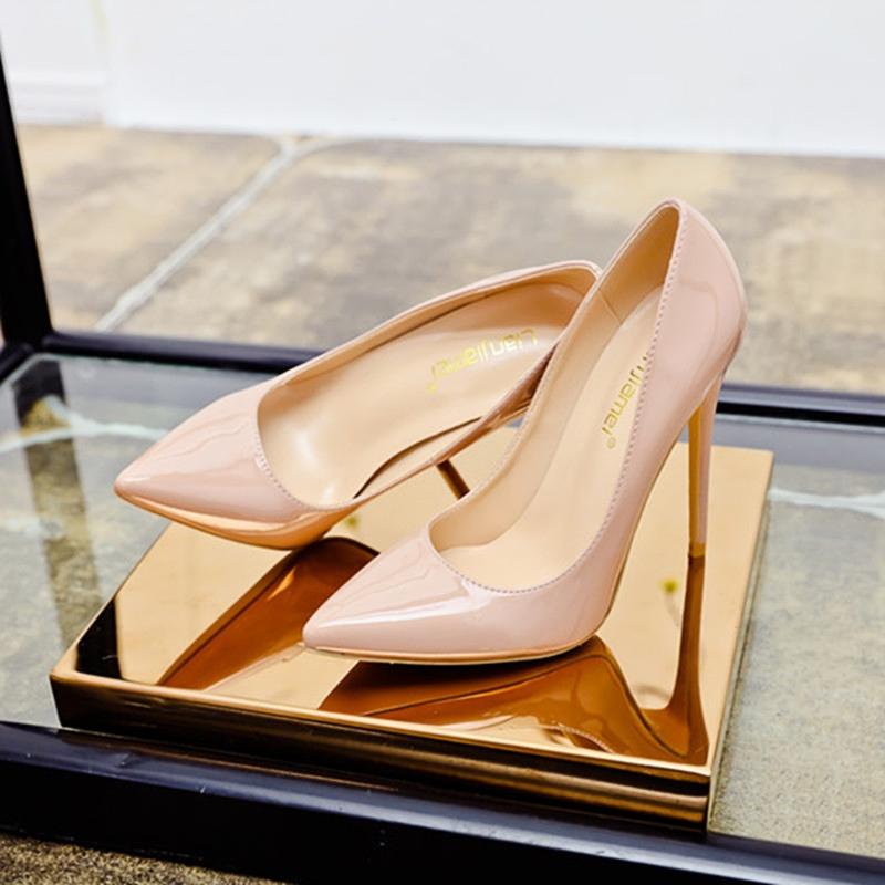 裸色12cm超高跟鞋单鞋2018性感尖头浅口黑色细跟工
