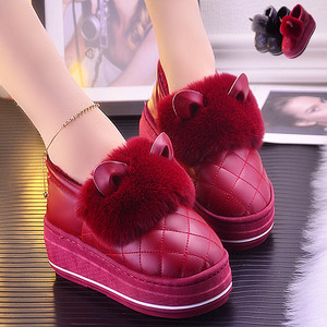 Winter all-inclusive with thick-soled cotton slippers female home ladies high-heeled PU leather waterproof non-slip confinement shoes fur shoes women