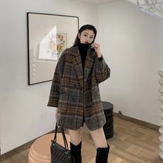 秋冬大衣女2019流行韩版复古西装格子气质宽松毛呢外套女中长款潮