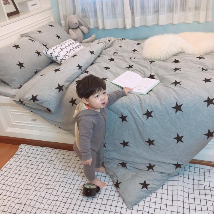 ins北欧五角星天竺棉裸睡全棉四件套针织棉被套床笠床上纯棉床单